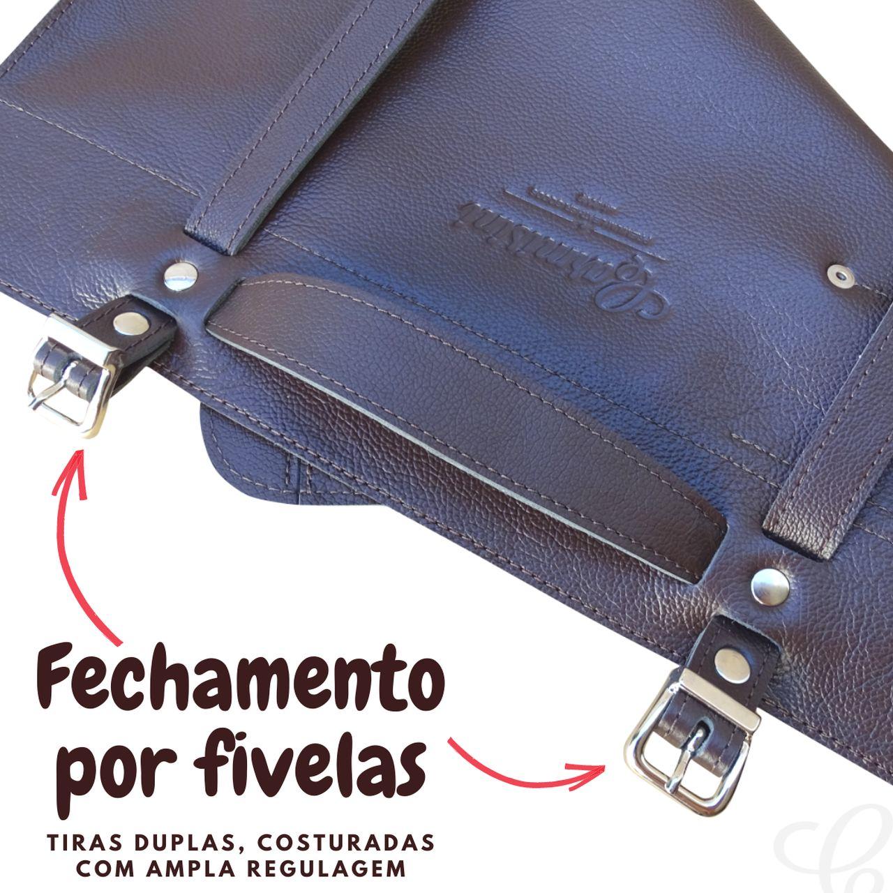 Kit Estojo Porta Facas + Avental Churrasqueiro em Couro e Brinde