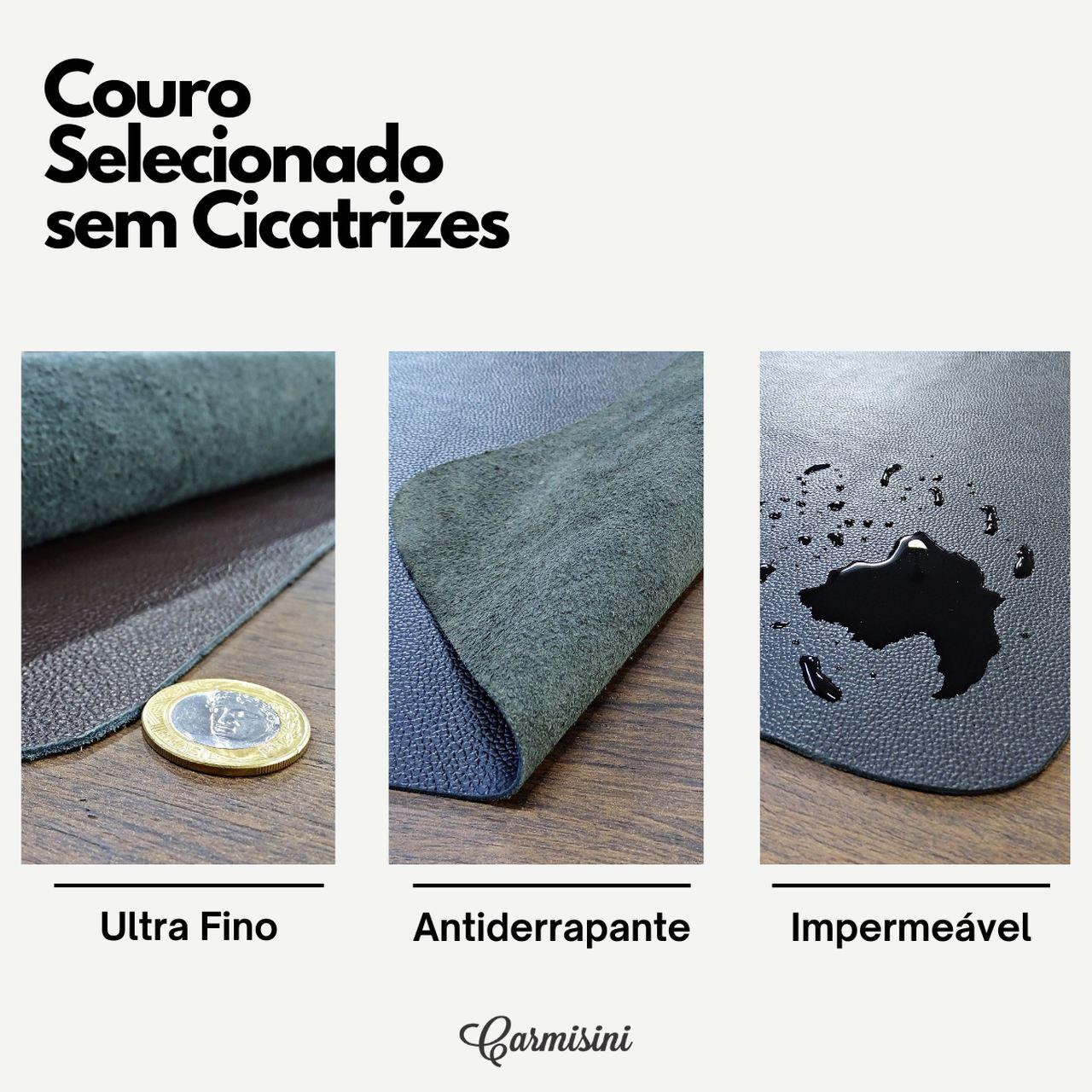 Mousepad Grande 70x38cm Couro Legítimo Café com suporte para celular.
