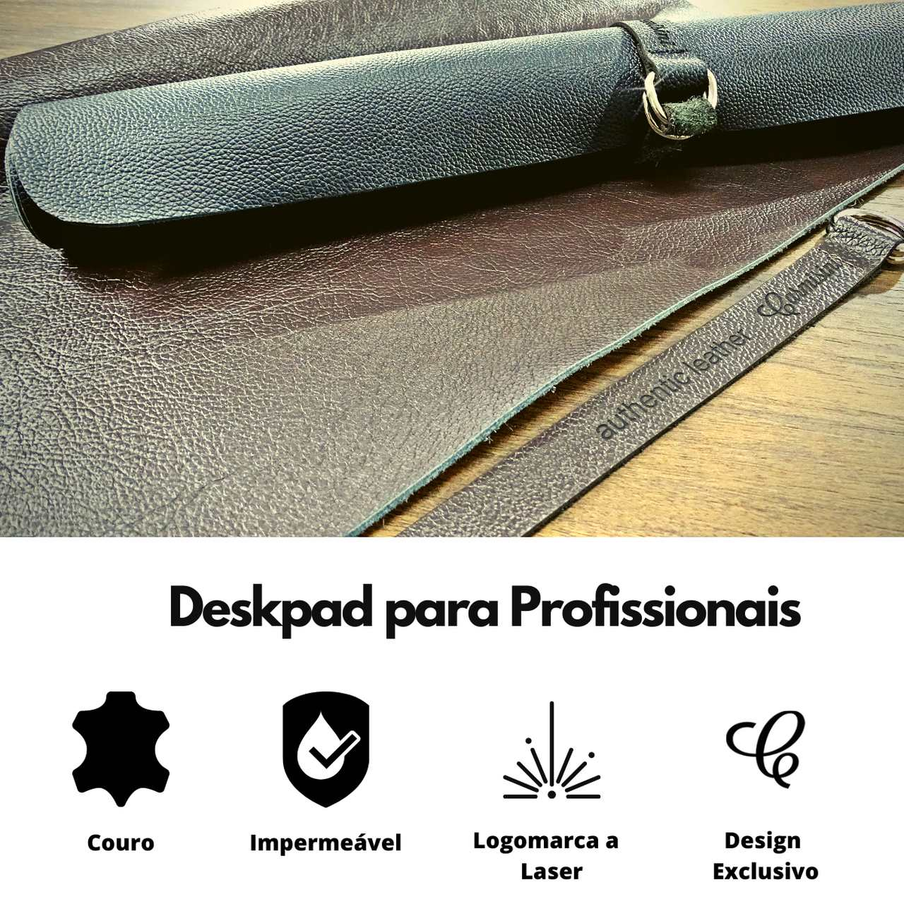 Mousepad Grande Gamer em Couro Legítimo Café tamanho 90x45cm com Brinde