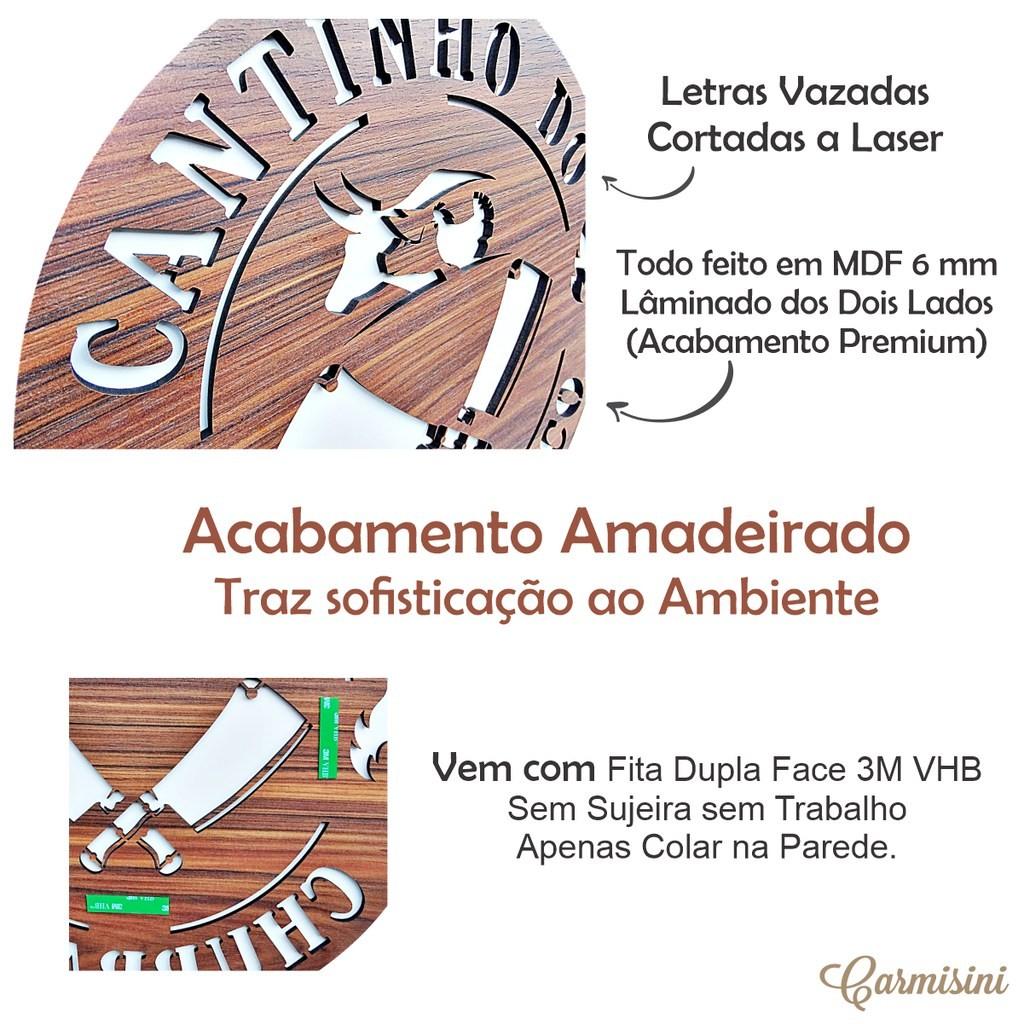 Placa Redonda Cantinho Do Churrasco Placa Decorativa Churrasqueira Madeira