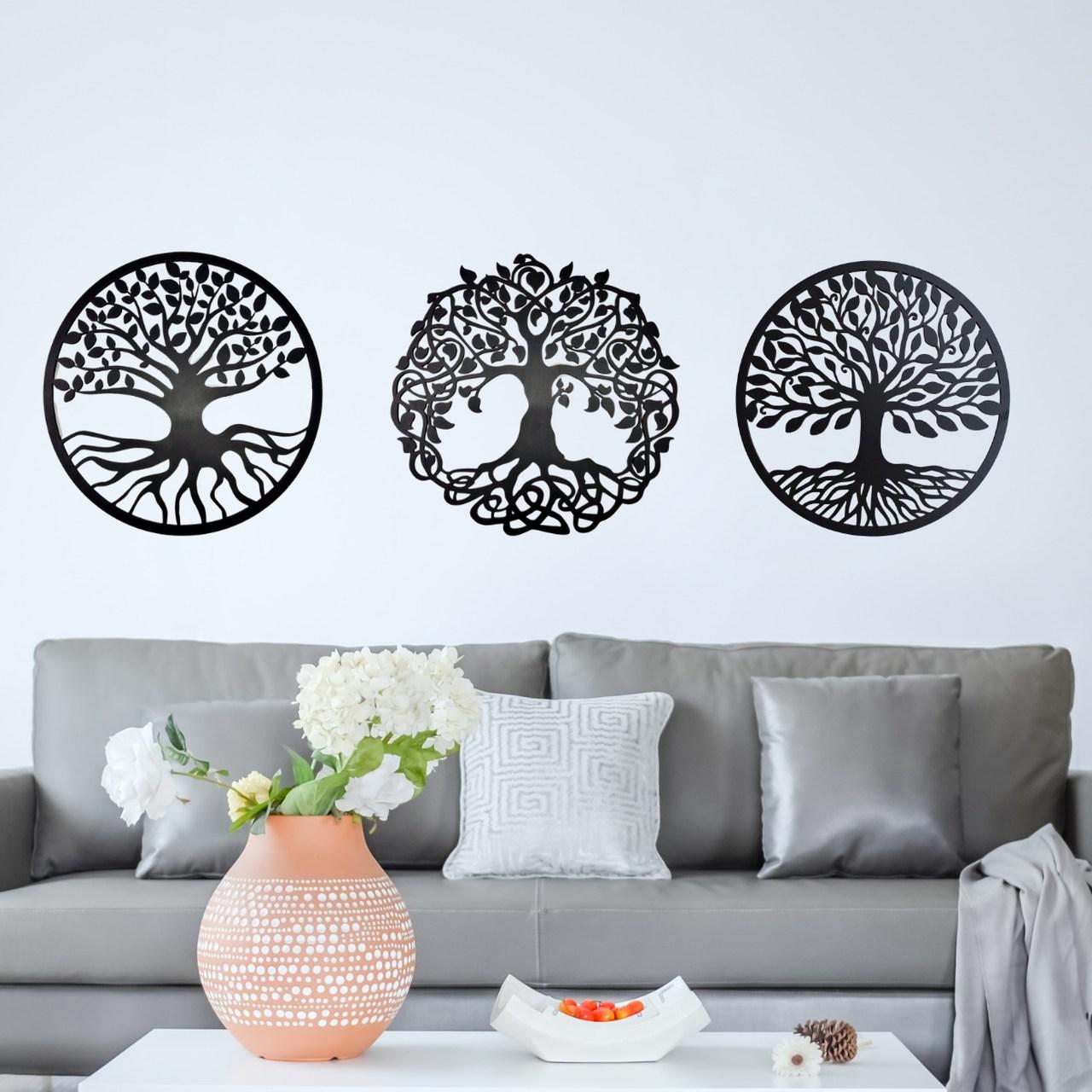 Placas Decorativas Mandala Folhas Árvore Em Mdf 6mm 43x43cmm Preto com 3
