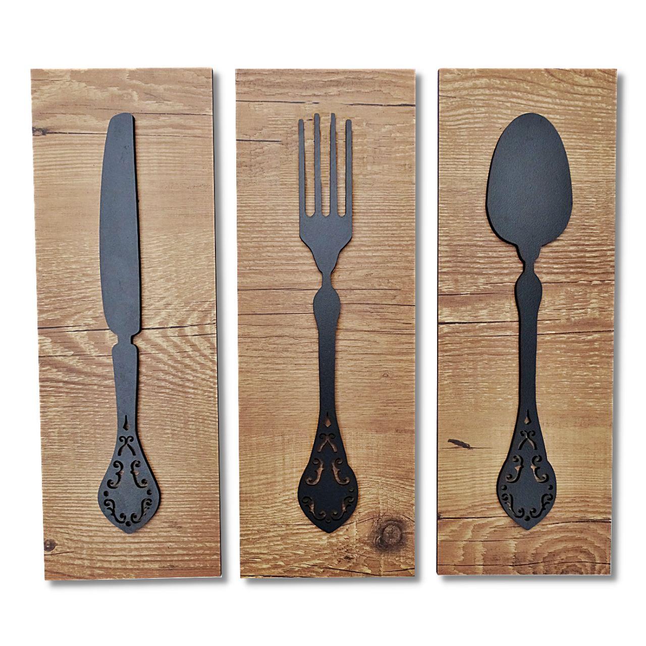 Quadro Decorativo Cozinha Área Gourmet Churrasqueira 3 Peças