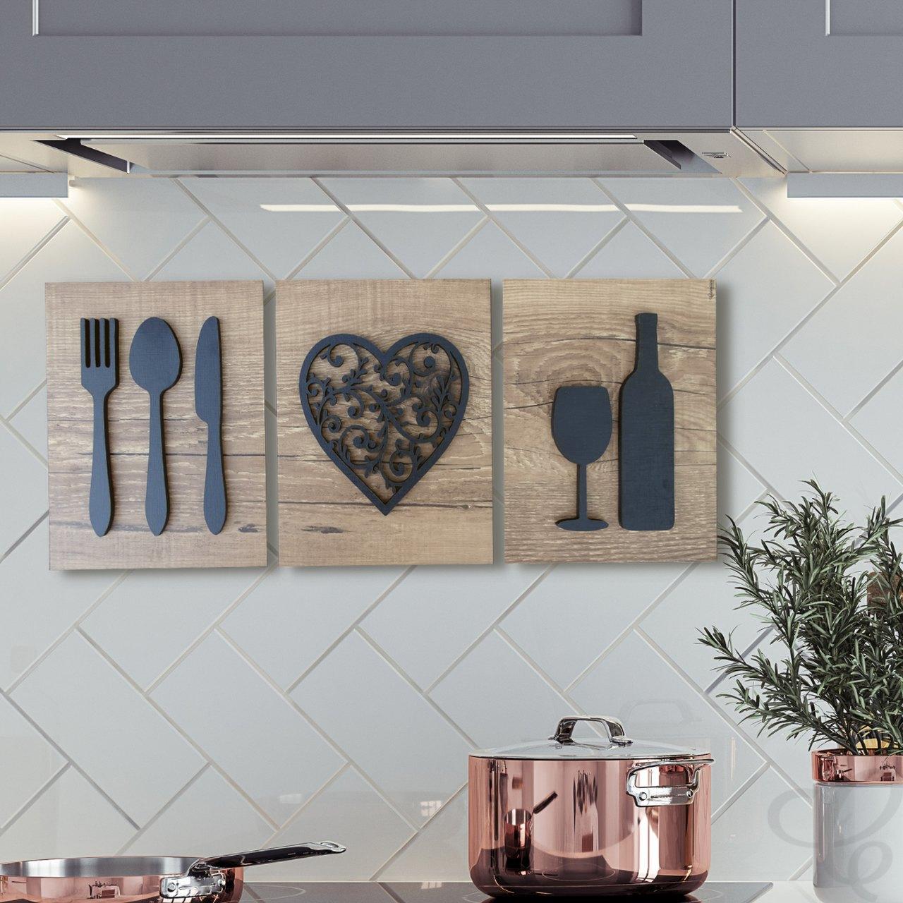 Quadro Decorativo Para Cozinha Vinho Adega Cozinha Talheres