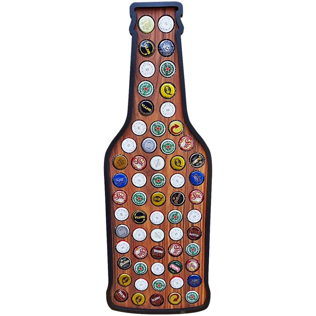Quadro Decorativo Porta Tampinha de Cerveja para Churrasqueira Gourmet, Pub e Boteco
