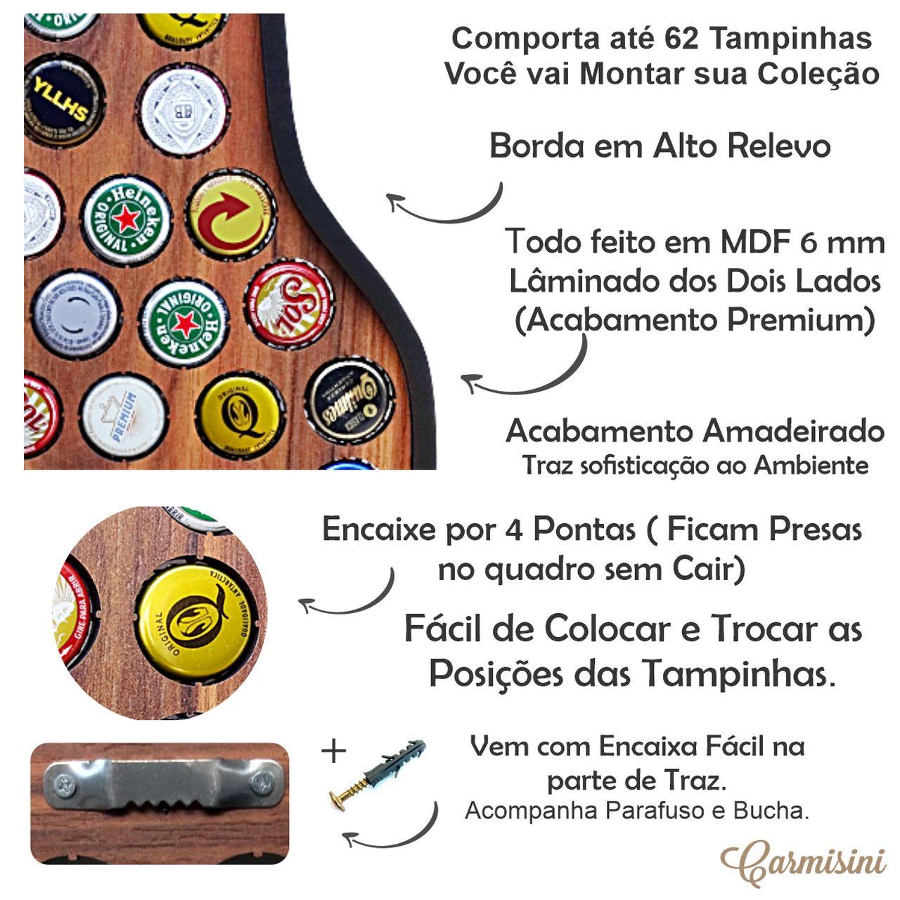 Quadro Porta Tampinhas De Cerveja + Porta Copos