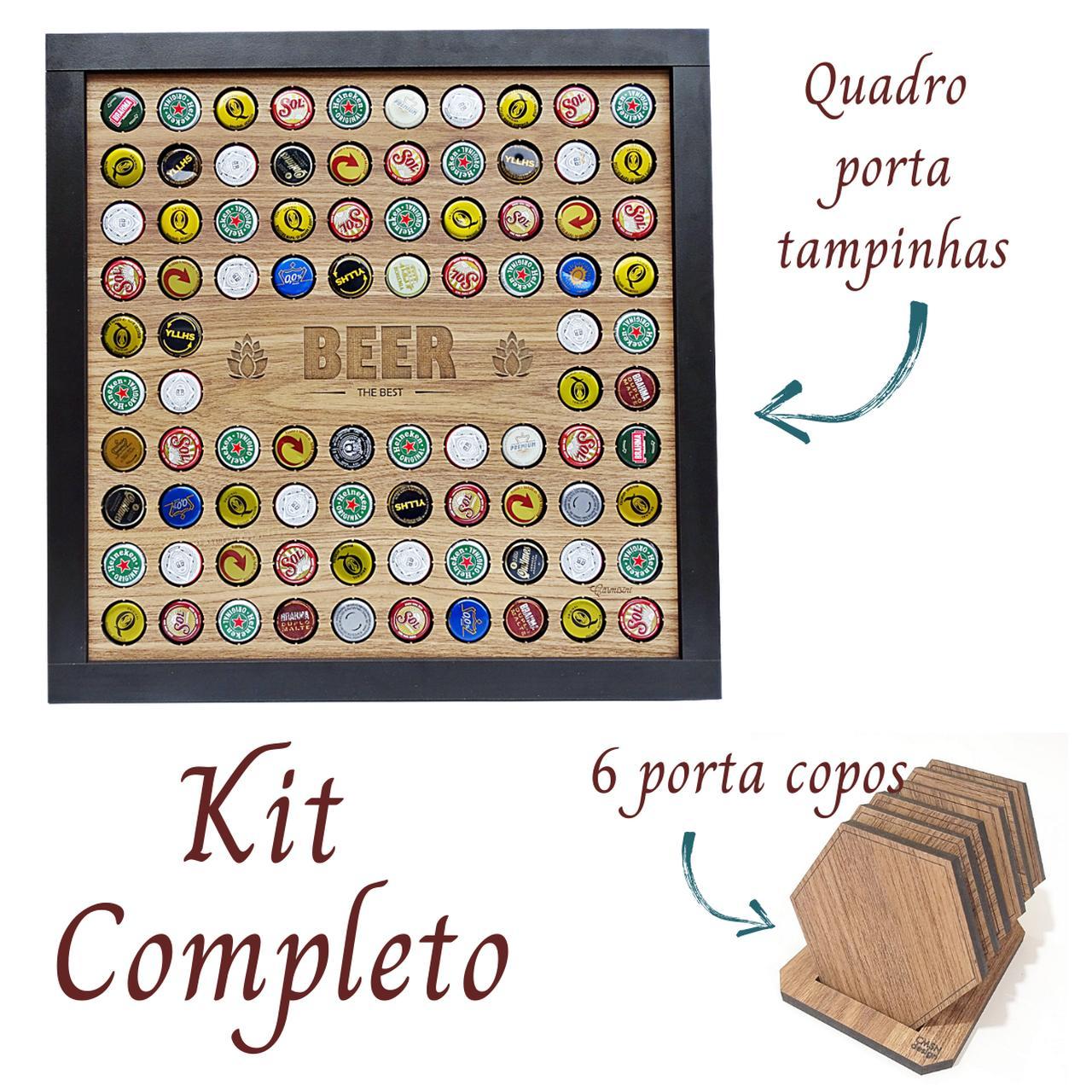 Quadro Porta Tampinhas + Kit Bolacha Porta Copos