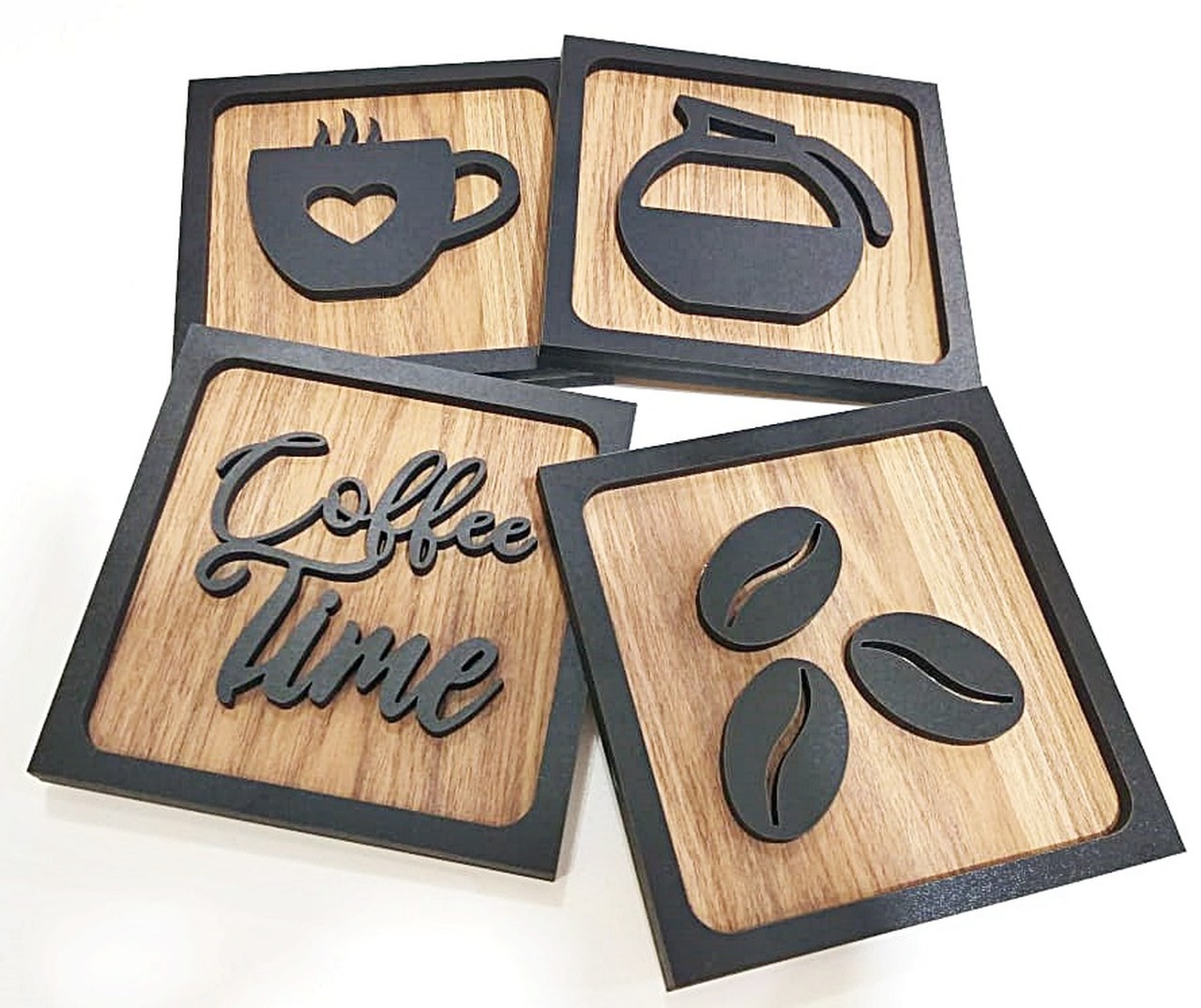 Quadros Decorativos Cantinho Do Café Cozinha 3d Kit Com 4