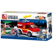 Blocos caminhão de bombeiro e posto de Gás 136 Peças 6+ anos - Multikids