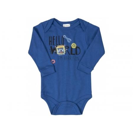 Body manga longa em suedine azul robô - Up Baby