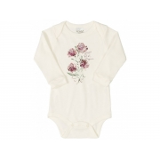 Body manga longa em suedine Off White floral - Up Baby