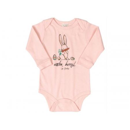 Body manga longa em suedine rosa coelhinho - Up Baby