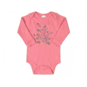 Body manga longa em suedine rosa - Up Baby