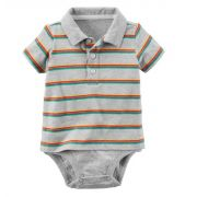 Body polo cinza listrado - Carter's