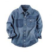 Camisa jeans manga longa - Carter's