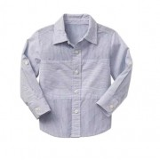 Camisa manga longa azul listrada - GAP