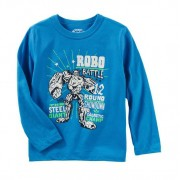Camiseta manga longa azul robô - OshKosh