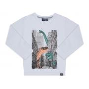 Camiseta manga longa branca Dinossauros na cidade - Vrasalon