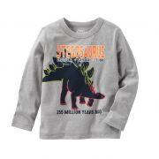 Camiseta manga longa cinza dinossauro - OshKosh
