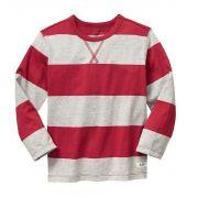 Camiseta manga longa listrada vermelha - GAP