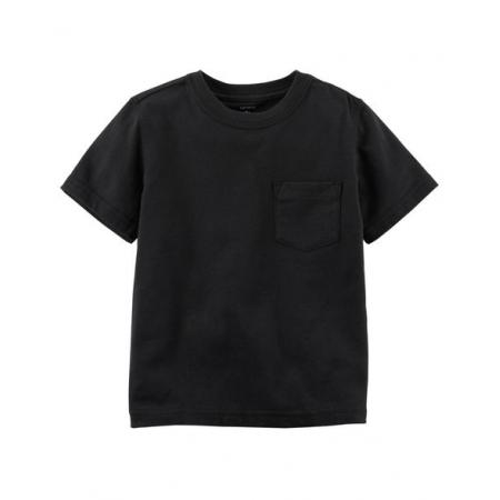Camiseta preta lisa com bolso - Carter's