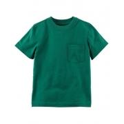 Camiseta verde lisa com bolso - Carter's