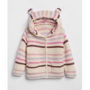 Casaco de lã urso rosa listrado - GAP