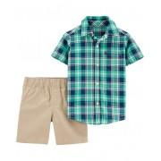 Conjunto bermuda caqui e camisa xadrez - Carters