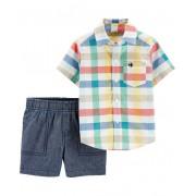 Conjunto bermuda chambray e camisa xadrez - Carters