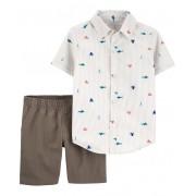 Conjunto bermuda cinza e camisa náutico - Carters