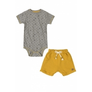 Conjunto bermuda de moletom e body cinza dog lover - Up Baby
