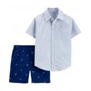 Conjunto bermuda flamingos e camisa listrada azul - Carter's