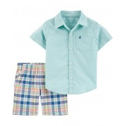Conjunto bermuda xadrez e camisa verde - Carters
