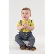 Conjunto body amarelo girafas e calça de moletom com suspensório - UP Baby