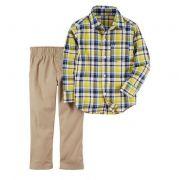 Conjunto calça caqui e camisa xadrez - Carter's