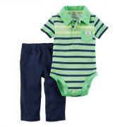 Conjunto calça e body polo verde - Carters
