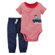 Conjunto calça e body vermelho marujo - Carter's