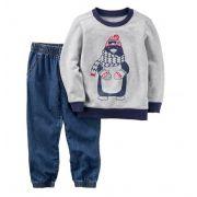 Conjunto calça jeans e moletom pinguim - Carter's