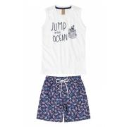 Conjunto camiseta regata branca e bermuda azul caranguejo - Up Baby