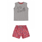 Conjunto camiseta regata cinza e bermuda vermelha caranguejo - Up Baby