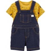 Conjunto jardineira falso jeans e blusa amarela dinossauros - Carters