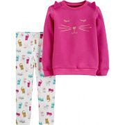 Conjunto legging e moletom fleece gatos - Carters