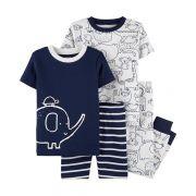 Conjunto pijamas verão azul elefante - Carters