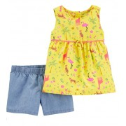 Conjunto short chambray e blusa regata jungle - Carters