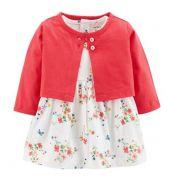 Conjunto vestido floral e cardigan rosa - Carter's