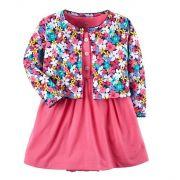 Conjunto vestido rosa e cardigan floral - Carter's