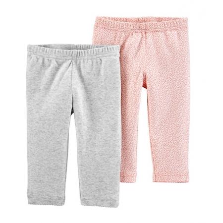 Kit 2 calças de algodão orgânico cinza e rosa - Carters