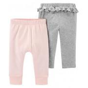 Kit 2 calças de malha rosa claro e cinza com babados - Carters
