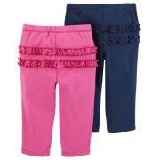 Kit 2 calças de malha rosa e azul com babados - Carter's