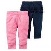 Kit 2 calças de malha rosa e azul marinho com babados - Carter's