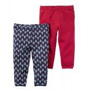 Kit 2 calças vermelho e estampada - Carter's